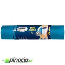 Worki na śmieci Grosik z cienkiej folii HD 120l niebieskie 20 szt.
