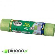 Worki na śmieci Grosik z grubej folii LD 60l z taśmą ściągającą 10 szt. zielone