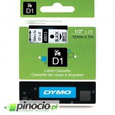 Taśma Dymo D1 12mm x 7m biała/czarny nadruk