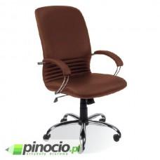 Fotel gabinetowy Nowy Styl Mirage Steel skórzany brązowy