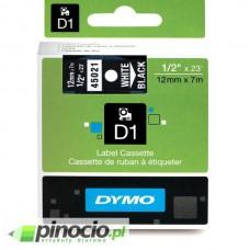 Taśma Dymo D1 12mm x 7m czarna/biały nadruk