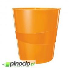 Kosz na śmieci 15L Leitz z kolekcji WOW pomarańczowy metalik