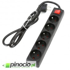 Listwa przeciwprzepięciowa Omega Fiesta S10 1.5m 5 gniazd czarna